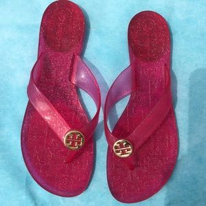 Tory Burch Glitter Jelly Flip Flops Sandals Thora